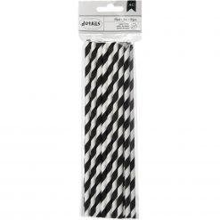 Papieren Rietjes - Zwart/Wit gestreept